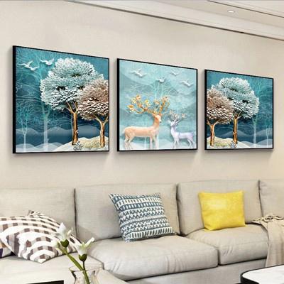 北歐客廳裝飾畫沙發背景墻壁畫古達現代簡約三聯畫臥室床 褐色 30*30此規格限購一套12mm中板+防水布紋膜+性價比高整