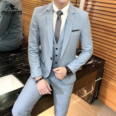 傳奇保羅(CHUANQIBAOLUO)西服套裝男商務正裝三件套修身職業韓版英倫風小西裝新郎結婚禮服