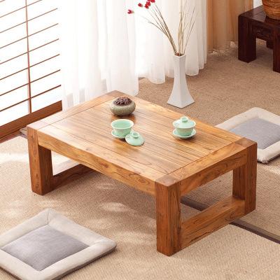 航竹坊 老榆木茶几中式现代简约实木榻榻米飘窗桌日式阳地台矮小炕桌