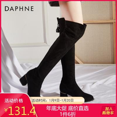 达芙妮2019长靴女过膝女粗跟靴子黑色长筒靴弹力ins网红瘦瘦靴