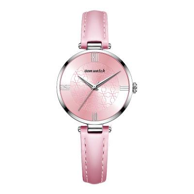 多姆(DOM)女士手表女韩版时尚简约ins风时尚石英表学生手表 粉色皮带情人节生日礼物手表