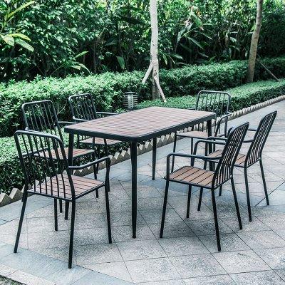邁菲詩戶外桌椅咖啡廳奶茶店陽臺小桌椅公園庭院露天室外鐵藝塑木組合