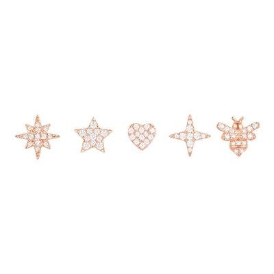 apm MONACO粉金色爱心蜜蜂耳钉组合时尚通勤穿孔925银耳饰女士首饰欧美风格RE10733OX