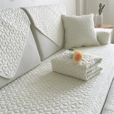 沙发垫四季通用全棉布艺防滑坐垫简约现代实木北欧沙发套沙发巾罩 米白花间俏 定做超过135cm需要拼接