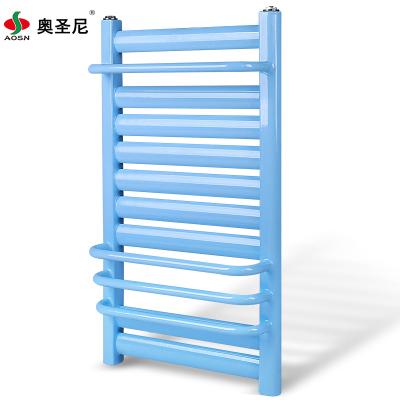暖气片家用壁挂式钢制低碳钢小背篓卫浴水暖卫生间中心距40高60毛巾架7+4蓝色