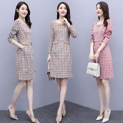 與牧時尚秋裝長袖連衣裙女2020年新款女裝寬松顯瘦裙子HZ