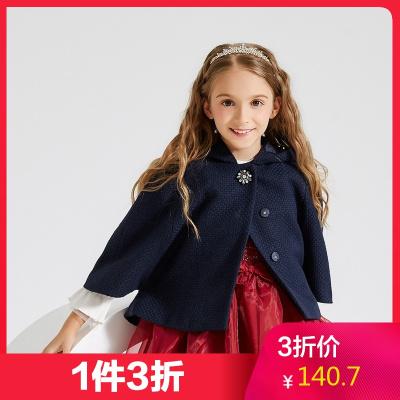 【1件3折價:140.7】米喜迪mecity童裝春秋新款女童含斗篷式外套