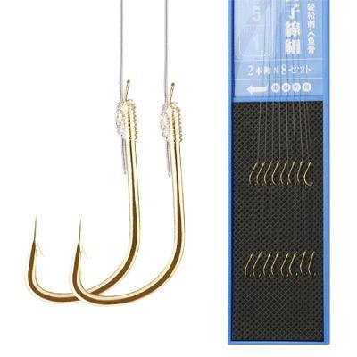 佳釣尼(JIADIAONI)魚鉤套裝全套綁好子線雙鉤成品線組溪流魚線金袖組釣魚鉤 一版8付