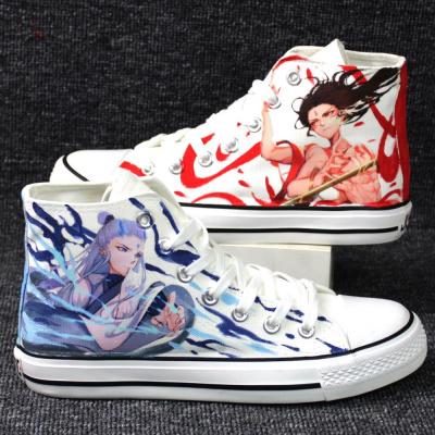 【精选特卖】高帮手绘帆布鞋哪吒之魔童降世动漫周边敖丙涂鸦女男学生平底板鞋