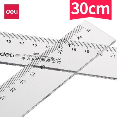 得力deli30cm厘米塑料直尺6230繪圖制圖工具學生用品透明文具尺子2把裝