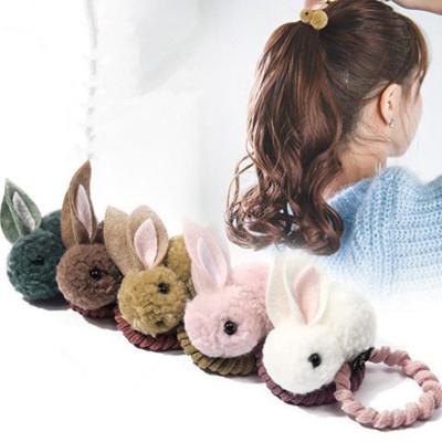 搭啵兔韓國兒童發繩可愛毛球兔子發圈女童卡通毛絨扎頭發頭繩皮筋頭飾品