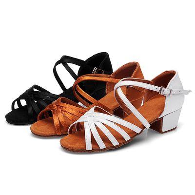 兒童專業拉丁舞鞋小孩女童軟底中高跟舞蹈鞋少兒拉丁鞋軟底摩登鞋 臻依緣