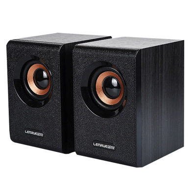 蓝悦V1000加强版 笔记本电脑音箱 2.0声道低音炮 台式音响 USB有线多媒体音箱 木质箱体 黑色