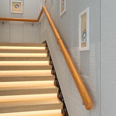 靠墻木樓梯扶手實木歐式家用幼兒園老人室內別墅閣樓防滑扶手簡約 100cm2個固定點
