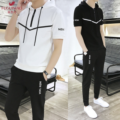 富貴鳥(FUGUINIAO)男士短袖衛衣套裝夏季2020新款潮流一套搭配休閑運動套裝寬松帥氣衣服