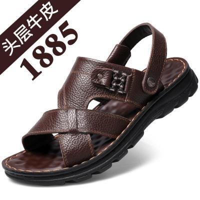 夏季新款涼鞋男士新款夏季時尚牛皮休閑運動沙灘鞋拖鞋男涼拖鞋耐磨套腳 莎丞