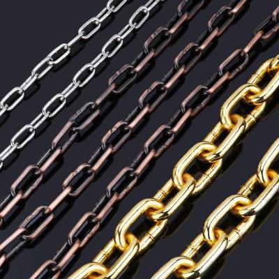 金色鏈條鐵鏈子吊燈鏈金屬鏈條銅鏈條不銹鋼鐵鏈條鎖大號銅鏈 銀色線粗3毫米鏈條