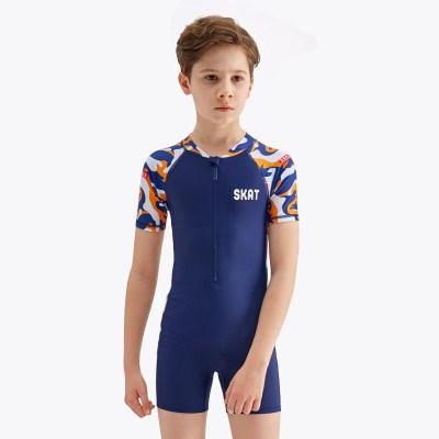 兒童泳衣男孩分體中大童青少年速干防曬長袖潛水服游泳褲套裝送帽