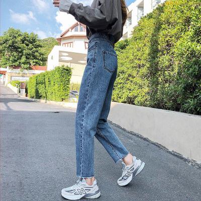 闊腿牛仔褲女寬松褲子春季2020新款長褲韓版顯瘦高腰直筒褲老爹褲