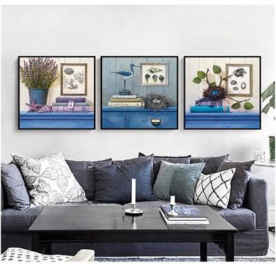 北歐客廳裝飾畫沙發背景墻壁畫古達現代簡約三聯畫臥室床 金色 70*70【適合3.5米左右墻面】12mm中板+防水布紋膜+