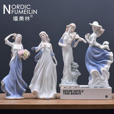 客廳電視柜酒柜玄關擺件陶瓷工藝品家居裝飾品擺設歐式西洋女