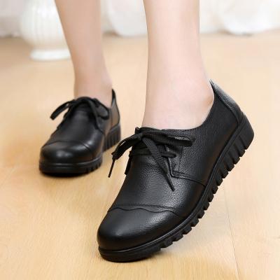 策霸2019新款女士单鞋中老年女鞋舒适妈妈鞋头层牛皮多款可选平底休闲鞋
