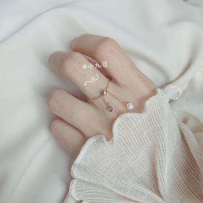 小九匠14K珍珠鏈條式軟戒指女ins潮網紅復古冷淡風可調節日系輕奢