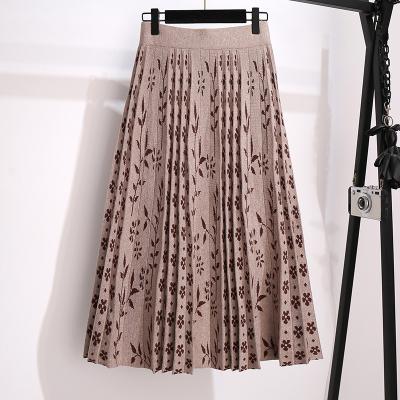 魅言魅語(MeiYanMeiYu)秋季新款高腰大擺針織半身裙微胖妹妹顯瘦碎花百褶裙