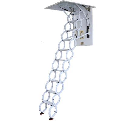 閣樓伸縮樓梯半自動室內家用隱形拉伸梯子復式別墅升降折疊樓梯定制 加厚超強鈦鎂合金定制專拍