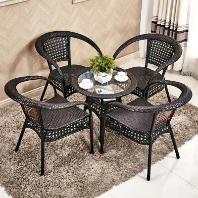 陽臺桌椅藤椅三件套戶外小茶幾組合休閑藤椅子靠背椅單人鐵藝庭院