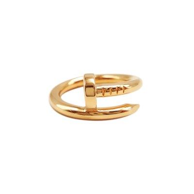 【正品二手95新】卡地亚(CARTIER)JUSTE UN CLOU 18K玫瑰金 无钻 钉子戒指 52号