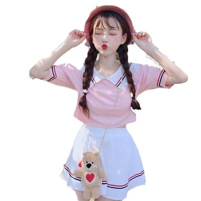 夏季潮套装可爱女学生韩版运动女装套裙娃娃领短袖上衣裙子两件套 莎丞