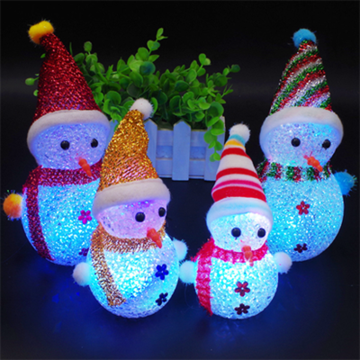 发光雪人圣诞节儿童抖音玩具摆件礼物LED粒子七彩闪光小孩创意小礼品