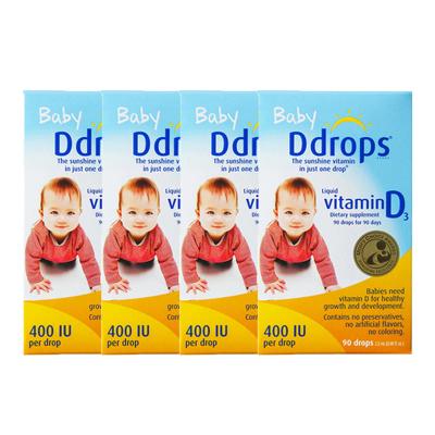 【4件装】Baby Ddrops 婴儿维生素D3滴剂 400IU 90滴/瓶