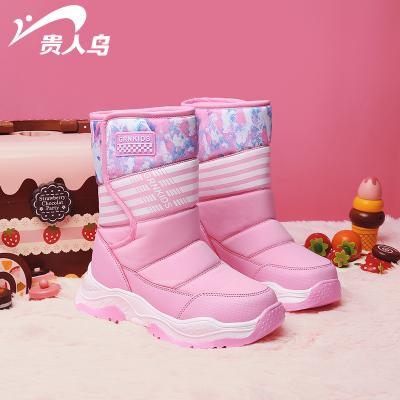 貴人鳥女童雪地鞋棉鞋防水防滑新款中大童秋冬款加絨加厚兒童靴子