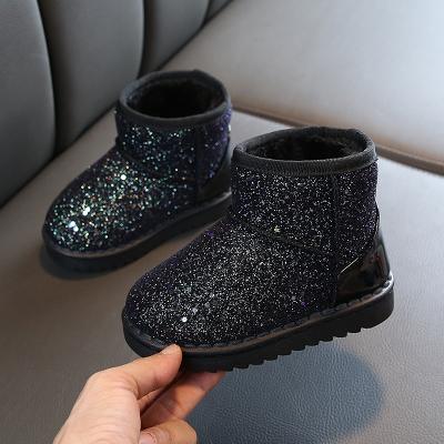 2019冬季新款女儿童雪地靴加厚超柔儿童靴亮片布套脚男童保暖棉鞋