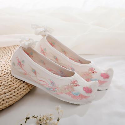 搭啵兔弓鞋古风翘头鞋老北京布鞋女汉服鞋平底汉鞋绣花鞋古风内增高布鞋