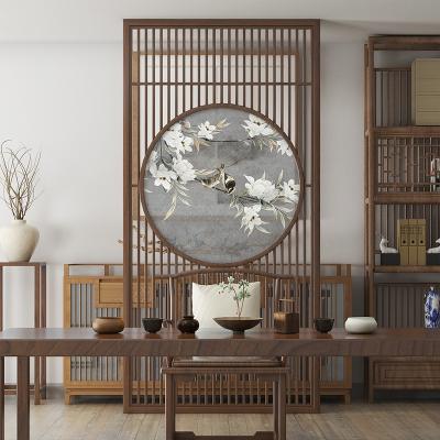 新中式屏风隔断客厅布艺时尚玄关办公室实木镂空座屏简约现代古典