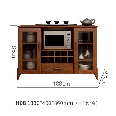 实木餐边柜酒柜碗橱餐厅边柜现代中式储物柜子简约大容量厨房橱柜 H081330*400*860H08双门