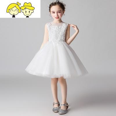 小伴娘花童婚礼女童秋季礼服白色公主裙儿童白纱裙主持蓬蓬演出服