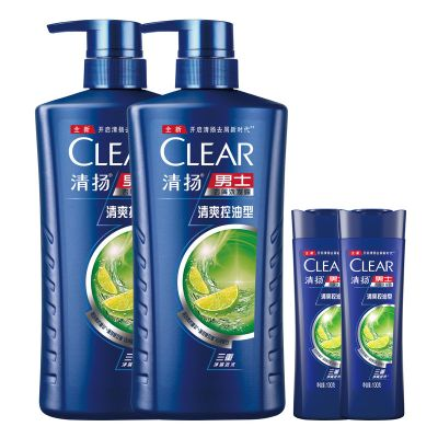 清揚(CLEAR)男士去屑洗發露清爽控油型藍瓶720GX2+100GX2【聯合利華】(新老包裝隨機發貨)