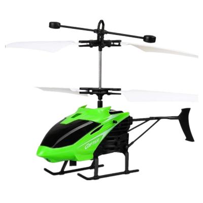 感应直升飞机无人机儿童玩具充电耐摔感应悬浮遥控小飞机室内玩具飞行器 绿色小飞机+遥控手表