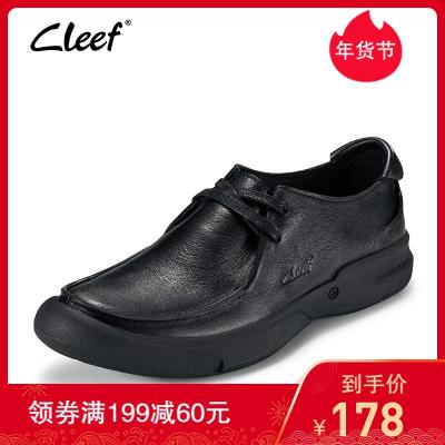 cleef看乐欧洲站皮鞋男软面皮商务休闲鞋真皮手工男士休闲皮鞋