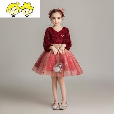 女孩洋气走秀礼服裙女童生日公主裙蓬蓬纱儿童主持人长袖演出服冬