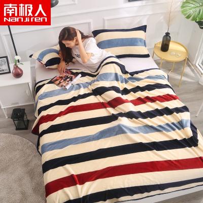 南極人(NanJiren)家紡 毛毯夏季加厚床單單人法蘭絨珊瑚絨毯子空調午睡夏涼蓋毯