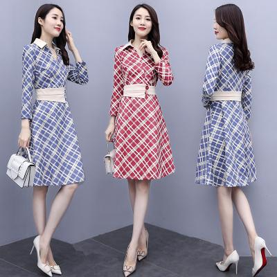 與牧2020年新款韓版女裝秋裝長袖時尚收腰連衣裙HZ