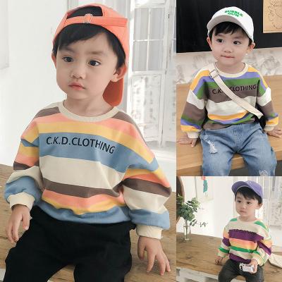 【品牌特賣】男童衛衣2019秋裝新款彩條紋嬰兒上衣寶寶洋氣潮衣長袖兒童衣服小