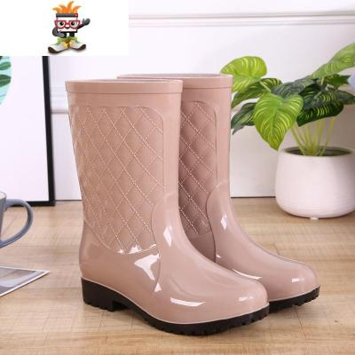 时尚雨鞋女靴中筒保暖雨鞋雨靴防滑女式水鞋高筒胶鞋成人加绒水靴