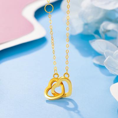 【2020新款】老廟黃金 18K金項鏈Au750心心相連愛心吊墜套鏈一款兩戴