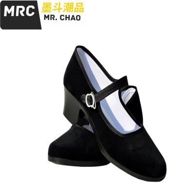 女式布鞋廣場舞鞋新款黑色平絨時尚淺口單鞋媽媽休閑舞蹈鞋 墨斗潮品